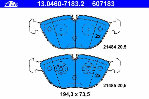Колодки тормозные дисковые Ate 1304607183213046071832