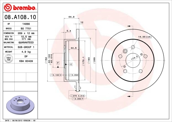 Диск тормозной Brembo 08A1081008A10810