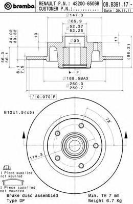 Диск тормозной задний с подшипником с кольцом АБС Brembo 08B3911708B39117