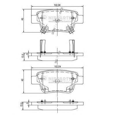 Колодки тормозные задние Nipparts J3612030J3612030