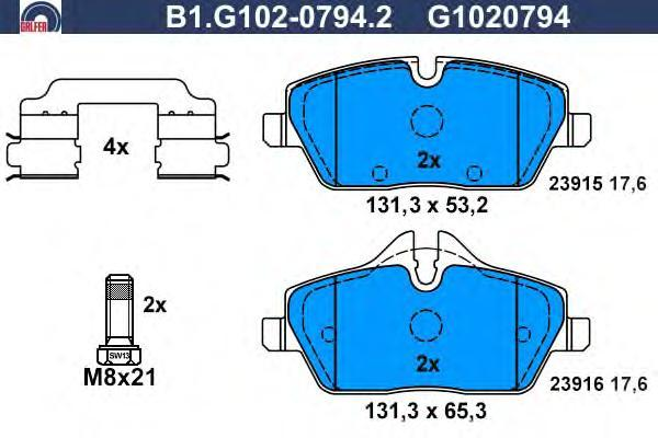 Колодки тормозные дисковые Galfer B1G10207942B1G10207942