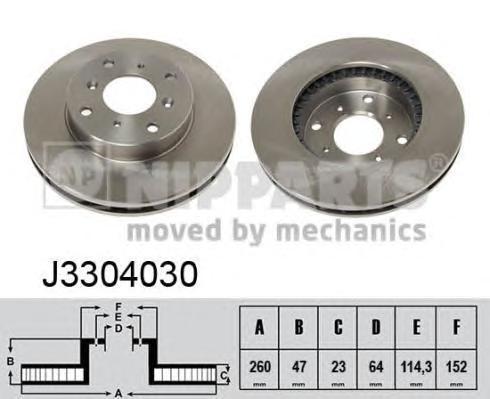 Диск тормозной передний вентилируемый Nipparts J3304030J3304030