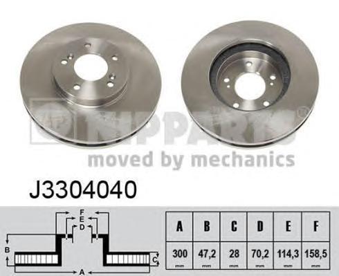 Диск тормозной передний вентилируемый Nipparts J3304040 комплект 2 штJ3304040