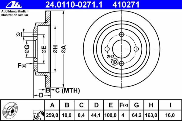 Диск тормозной Ate 24011002711 комплект 2 шт24011002711