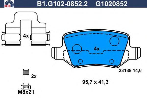 Колодки тормозные дисковые Galfer B1G10208522B1G10208522