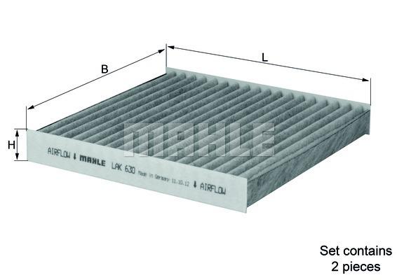 Фильтр салона BMW X3 F25 угольный (упак.2шт.)LAK630S