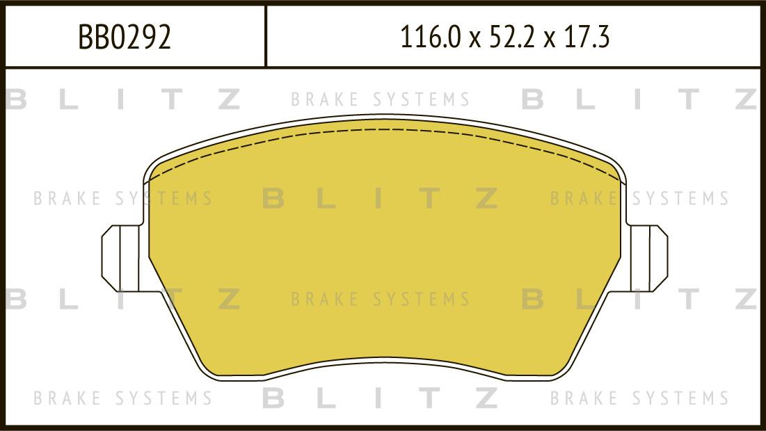 Колодки тормозные дисковые BLITZ автотовары BB0292BB0292