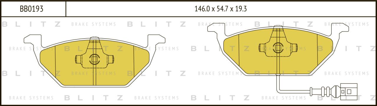 Колодки тормозные дисковые BLITZ автотовары BB0193BB0193