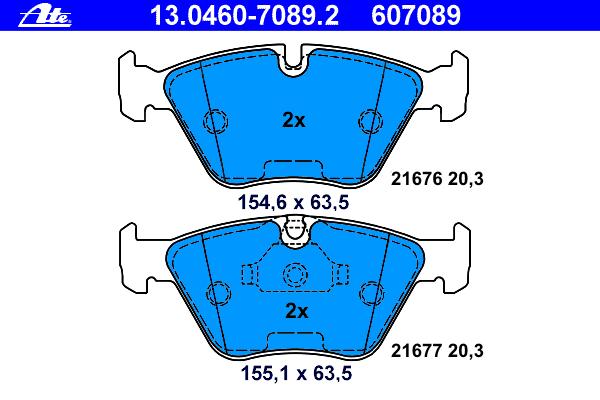 Колодки тормозные дисковые Ate 1304607089213046070892