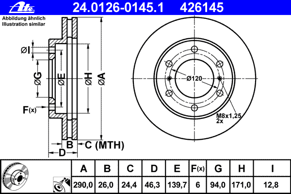 Диск тормозной Ate 24012601451 комплект 2 шт24012601451