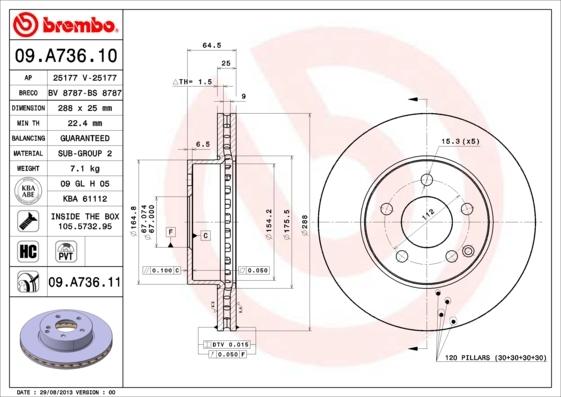 Диск тормозной Brembo 09A73611 комплект 2 шт09A73611