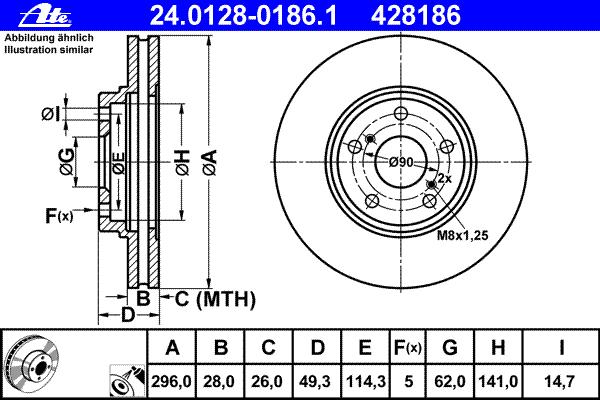 Диск тормозной Ate 2401280186124012801861