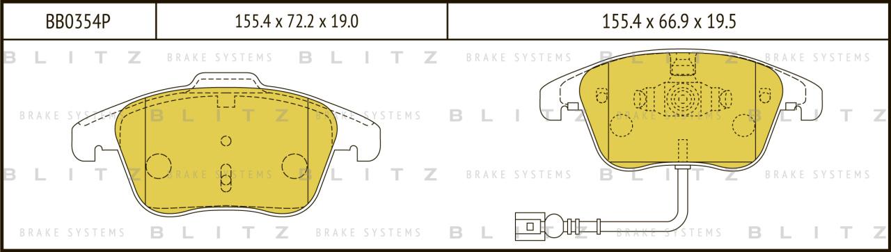 Колодки тормозные дисковые BLITZ автотовары BB0354PBB0354P