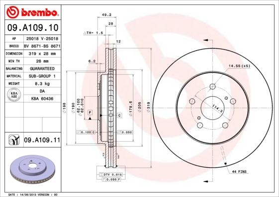 Диск тормозной передний вентилируемый Brembo 09A10910 комплект 2 шт09A10910