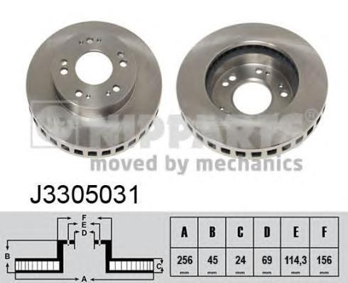 Диск тормозной передний вентилируемый Nipparts J3305031 комплект 2 штJ3305031