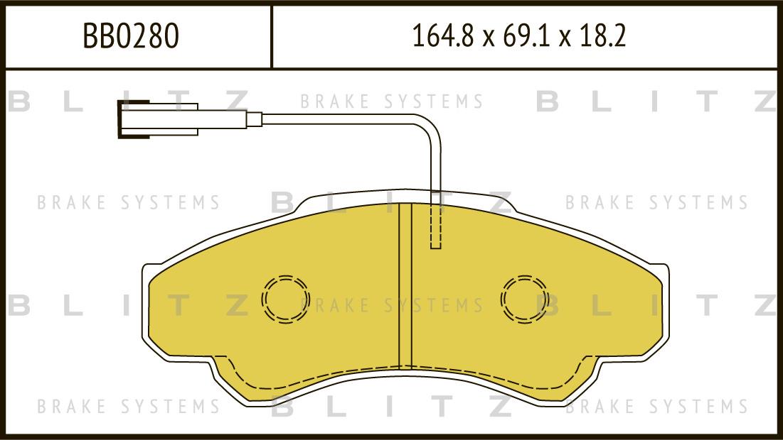 Колодки тормозные дисковые BLITZ автотовары BB0280BB0280