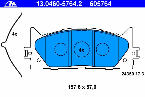 Колодки тормозные дисковые Ate 1304605764213046057642