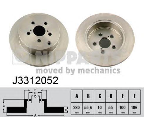 Диск тормозной задний Nipparts J3312052J3312052