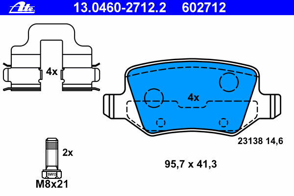 Колодки тормозные дисковые Ate 1304602712213046027122