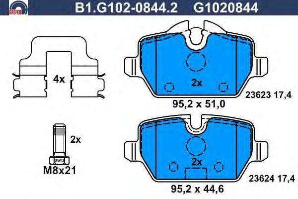 Колодки тормозные дисковые Galfer B1G10208442B1G10208442