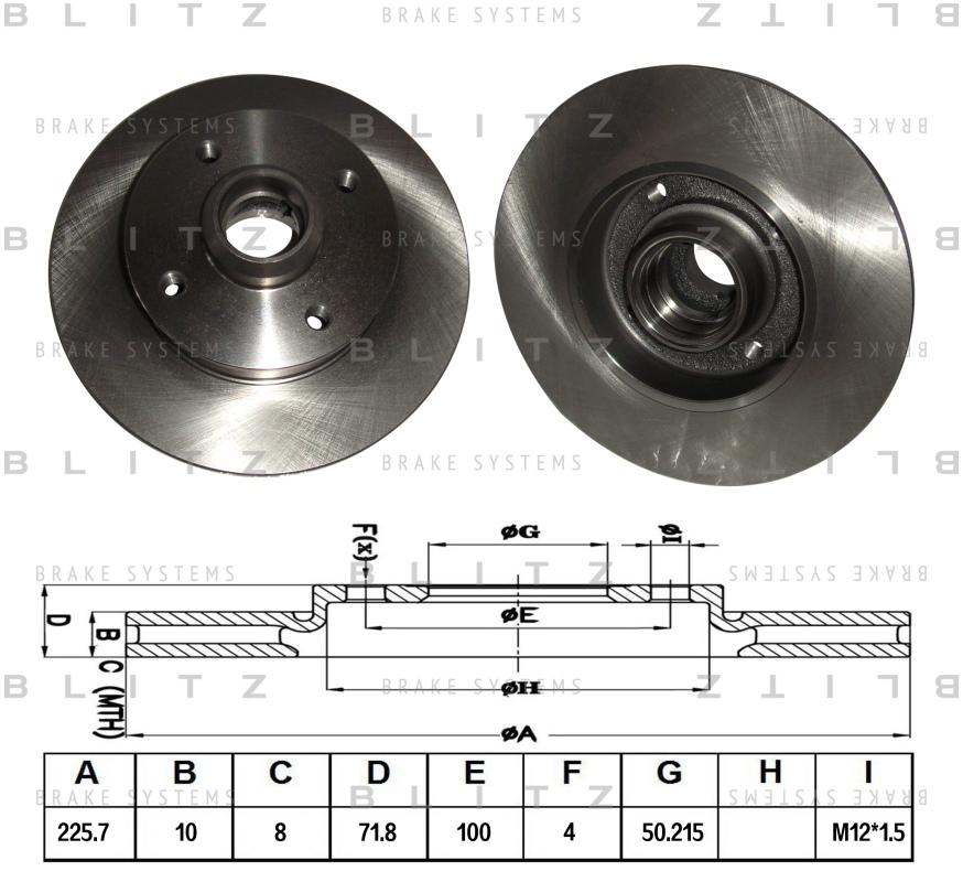 Диск тормозной BLITZ автотовары BS0114BS0114