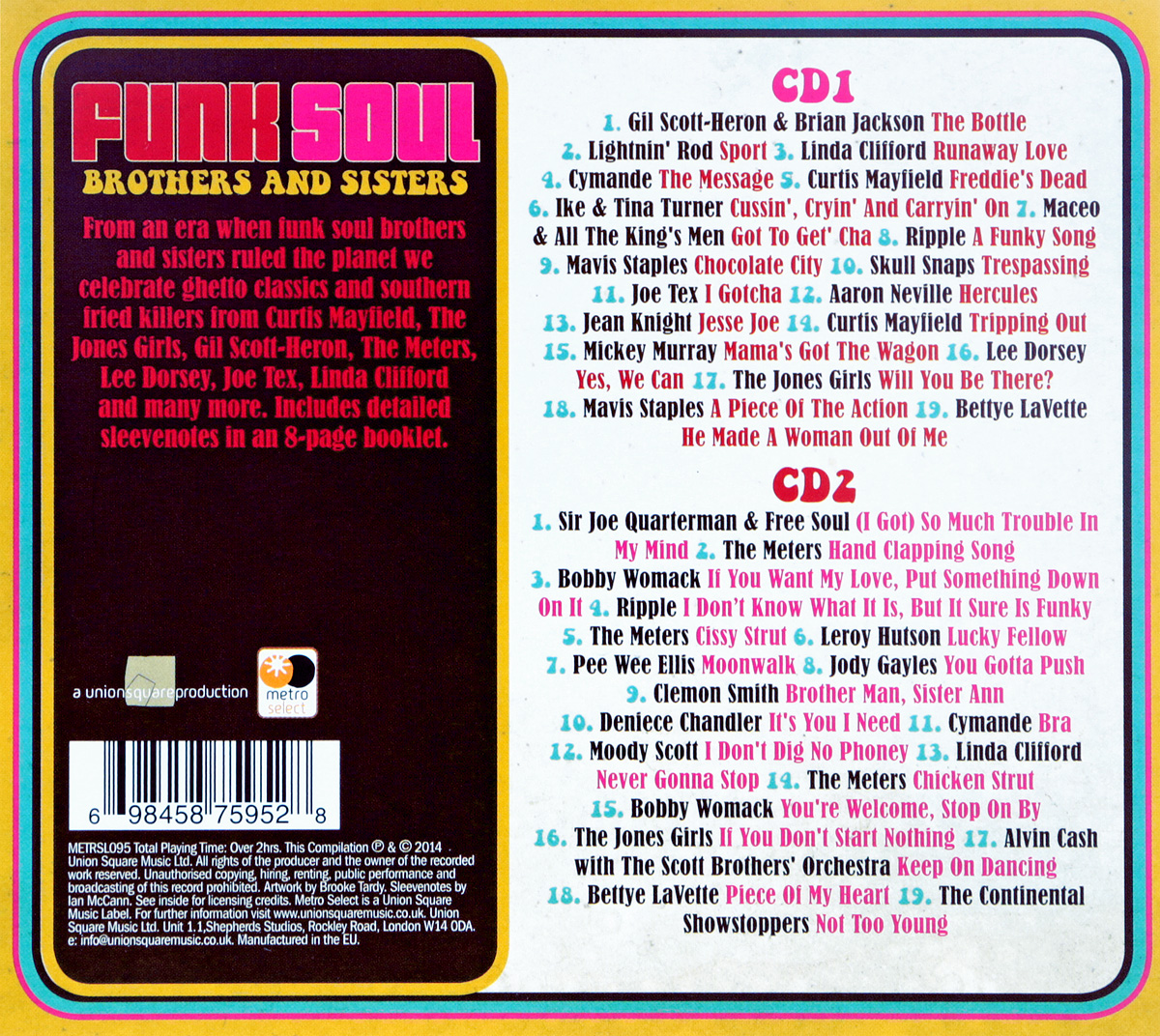 Funk Soul.  Brothers& Sisters (2 CD) Union Square Music Ltd.