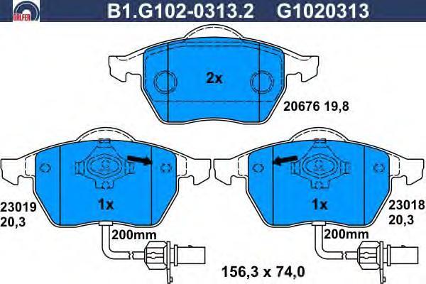 Колодки тормозные дисковые Galfer B1G10203132B1G10203132
