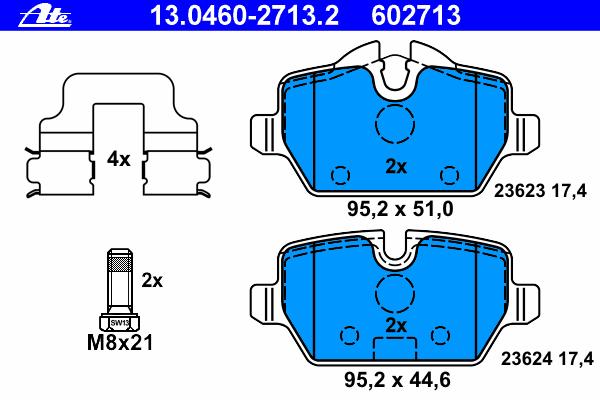Колодки тормозные дисковые Ate 1304602713213046027132