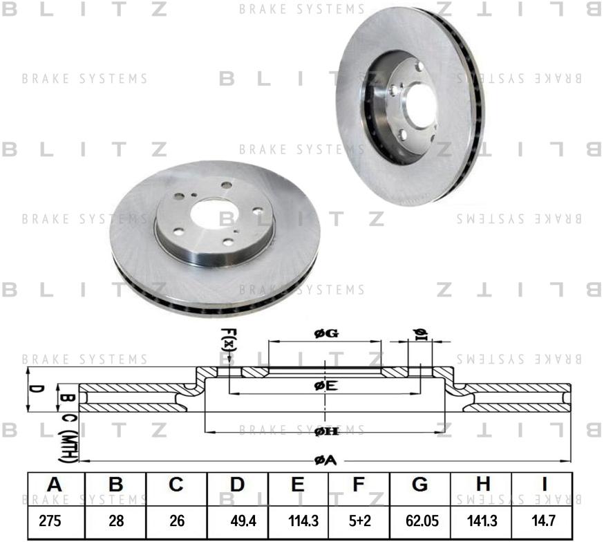 Диск тормозной BLITZ автотовары BS0137BS0137