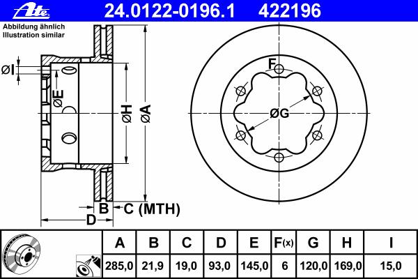 Диск тормозной Ate 24012201961 комплект 2 шт24012201961