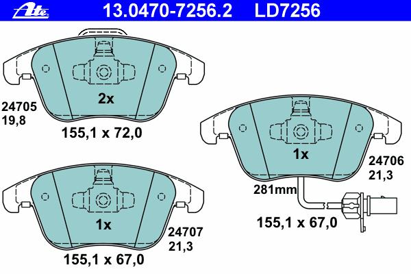 Колодки тормозные CERAMIC Ate 1304707256213047072562