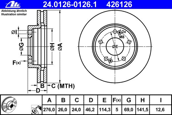 Диск тормозной Ate 24012601261 комплект 2 шт24012601261