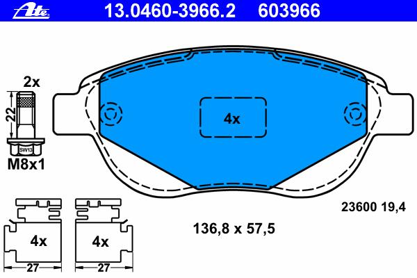 Колодки тормозные дисковые Ate 1304603966213046039662