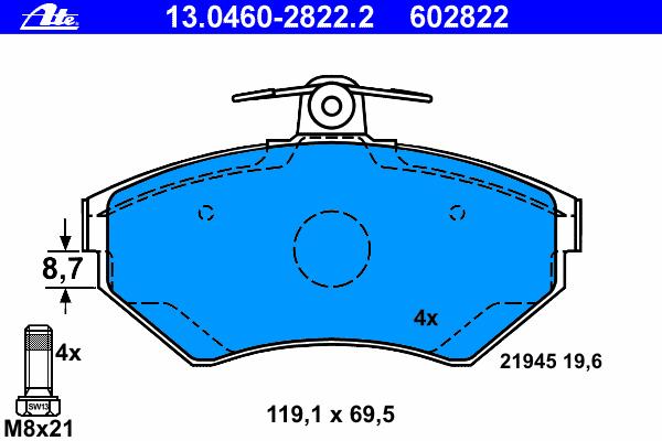 Колодки тормозные дисковые Ate 1304602822213046028222