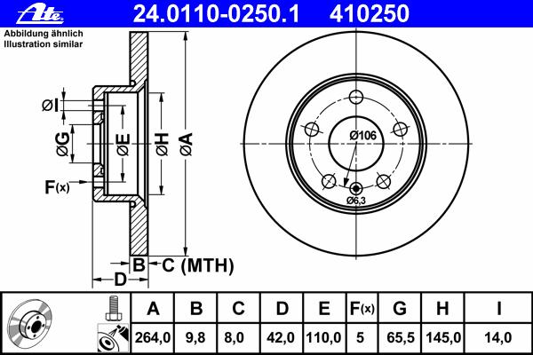Диск тормозной Ate 24011002501 комплект 2 шт24011002501