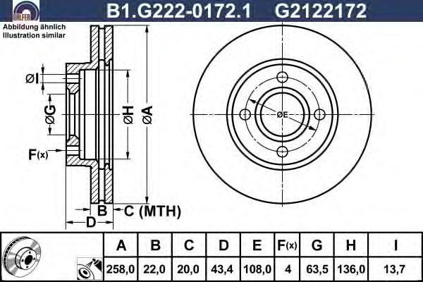 Диск тормозной Galfer B1G22201721B1G22201721