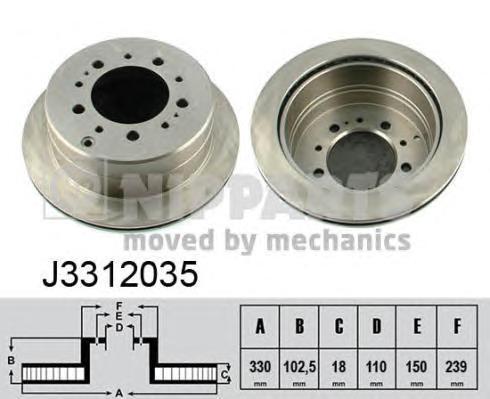 Диск тормозной задний вентилируемый Nipparts J3312035J3312035