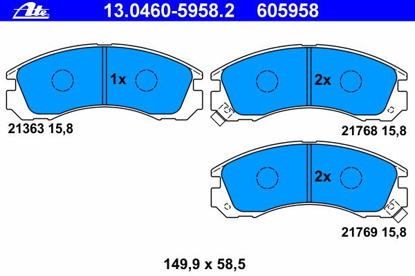Колодки тормозные дисковые Ate 1304605958213046059582