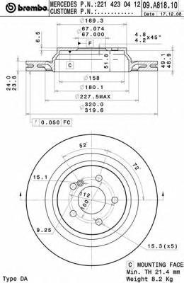 Диск тормозной Brembo 09A81811 комплект 2 шт09A81811
