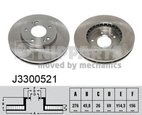 Диск тормозной передний вентилируемый Nipparts J3300521 комплект 2 штJ3300521