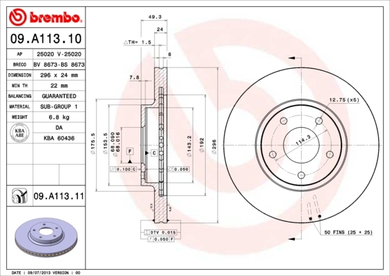 Диск тормозной Brembo 09A1131009A11310