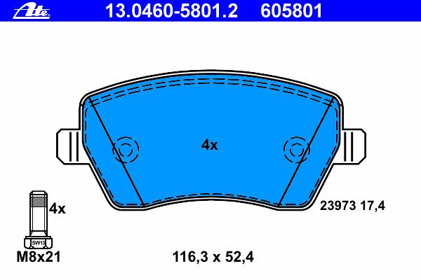 Колодки тормозные Ate 1304605801213046058012