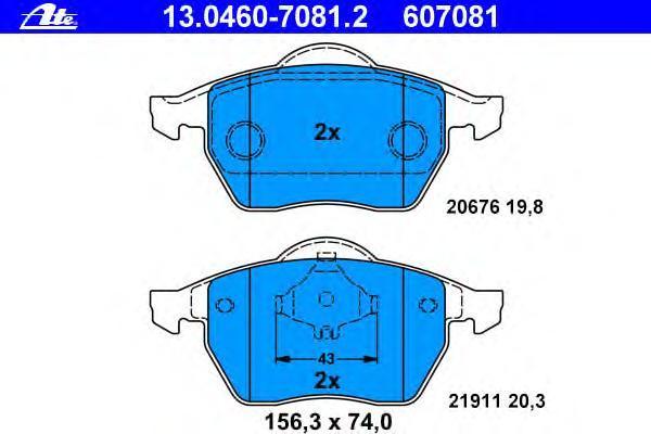 Колодки тормозные дисковые Ate 1304607081213046070812