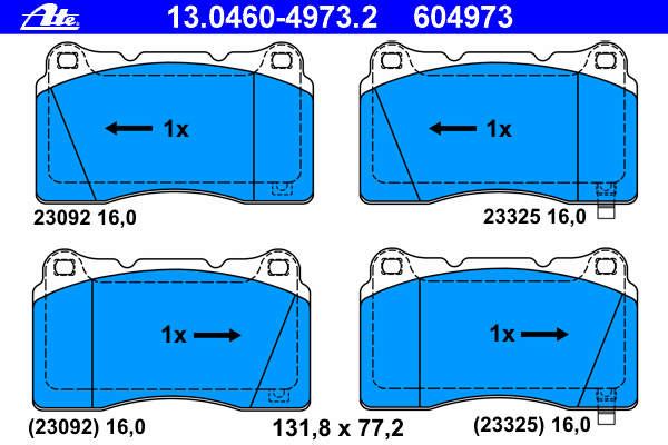 Колодки тормозные Ate 1304604973213046049732