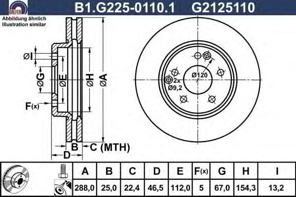 Диск тормозной Galfer B1G22501101B1G22501101