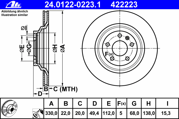 Диск тормозной Ate 24012202231 комплект 2 шт24012202231