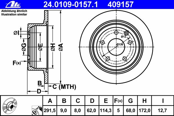 Диск тормозной Ate 24010901571 комплект 2 шт24010901571