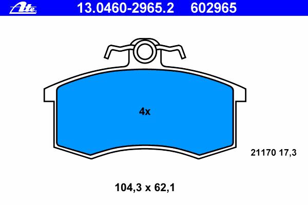 Колодки тормозные дисковые Ate 1304602965213046029652