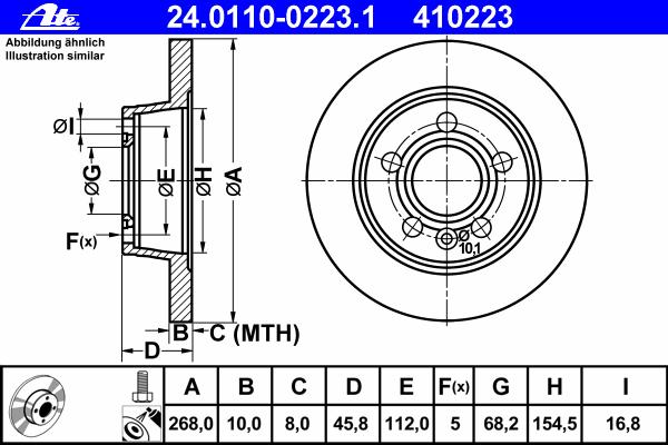 Диск тормозной Ate 24011002231 комплект 2 шт24011002231