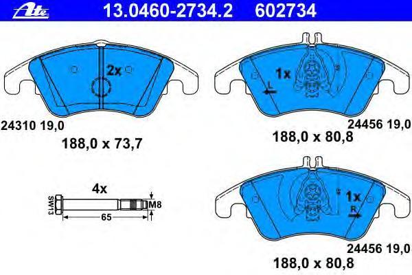 Колодки тормозные дисковые Ate 1304602734213046027342
